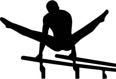 flexible girl: Athlete at parallel bars Illustration