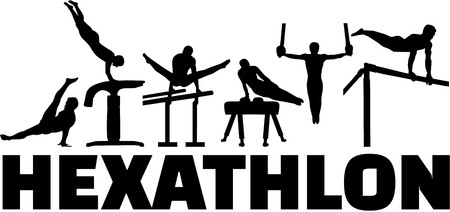 gymnastics sports: Hexathlon gymnastics set Illustration