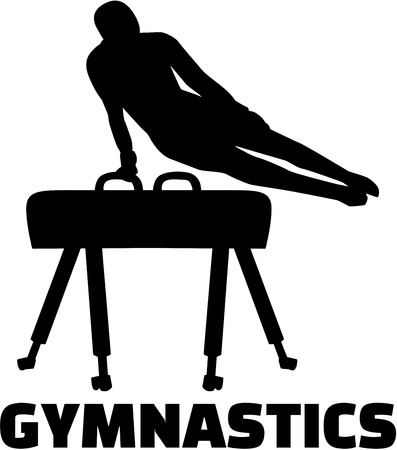 pommel: Gymnastics with man at pommel horse Illustration