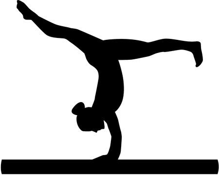 Woman exercise on balance beam 일러스트
