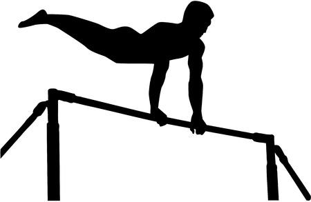 high: Athlete exercise high bar