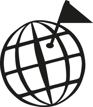 geocaching: Geocaching world globe with goal flag