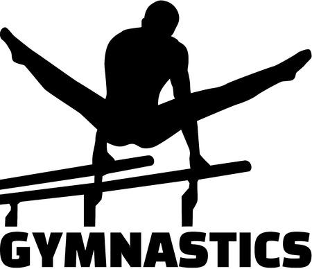 gymnastics silhouette: Gymnastics with man at parallel bars
