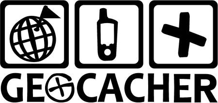 geocache: Geocacher with geocaching icons Illustration