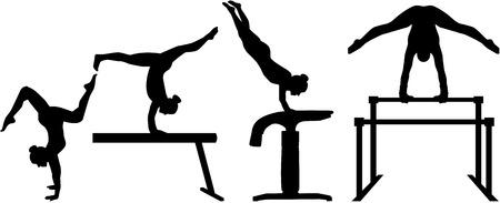 gymnastik: Vierteilige Wettbewerb Gymnastik Illustration