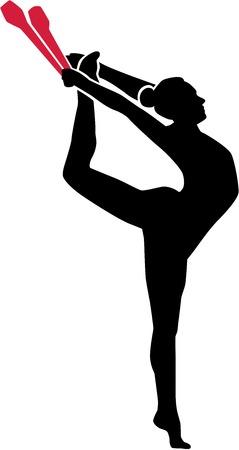 Vrouw doet Ritmische gymnastiek met clubs Stock Illustratie