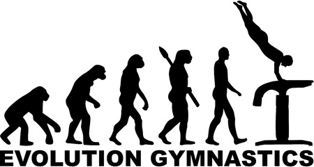 acrobat gymnast: Evolution gymnastics vaulting table Illustration