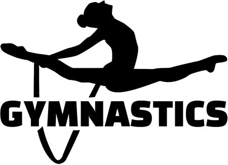 female gymnast: Gymnastics word with woman exercise with rope