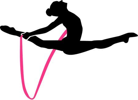 Gymnastiek vrouw springen met touw Stock Illustratie