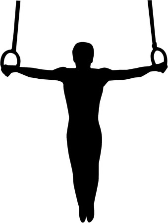 Gimnasia atleta en anillos de la gimnasia