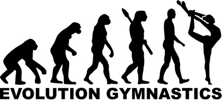 acrobat gymnast: Evolution gymnastics with clubs Illustration