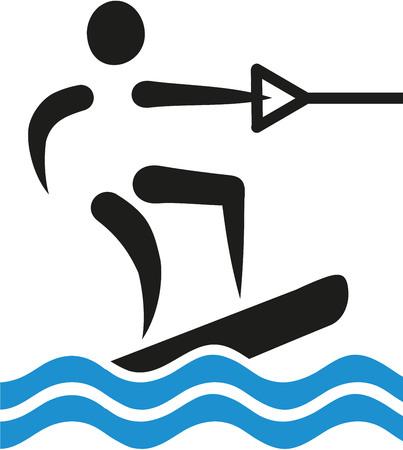 wakeboarding: Wakeboarding icon Illustration