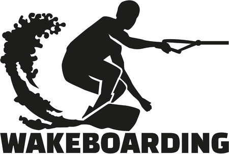 wakeboarding: Wakeboarding word with boarder silhouette Illustration