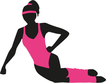 cuffs: Woman with aerobic outfit and cuffs Illustration