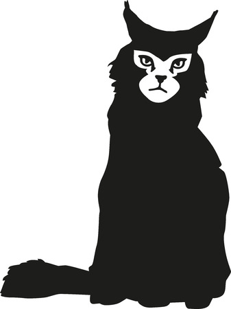 maine: Maine coon with face Illustration