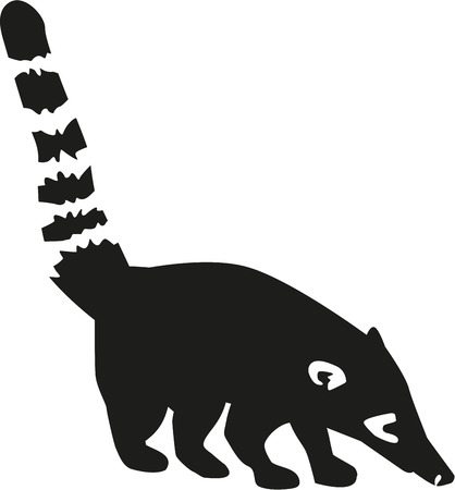 Coati silhouette with details