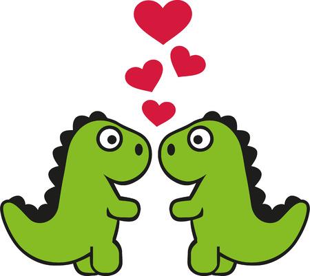 tyrannosaurus: Two cute tyrannosaurus in love Illustration