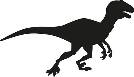 deinonychus: Dinosaur deinonychus silhouette Illustration