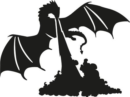 reptilian: Dragon breathing fire