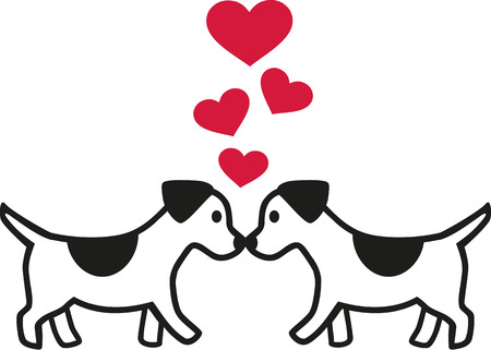 canine: Two dogs in love with hearts Illustration
