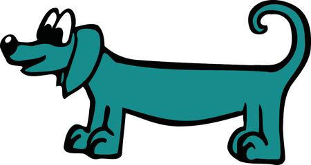sausage dog: Blue cartoon sausage dog