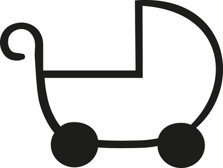 buggy: Baby buggy outline icon