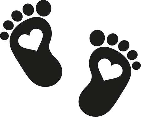 newborn baby mother: Baby footprint icon with hearts