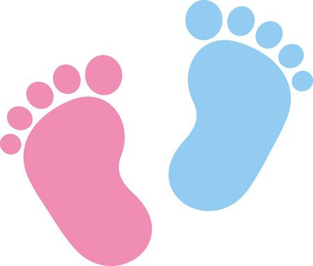 pied fille: Empreinte b�b� rose et bleu Illustration