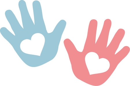 Hands of baby blue and pink with hearts Illustration