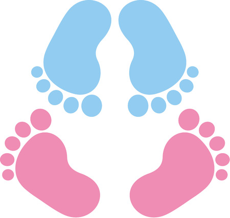 newborns: Two pair of baby footprint twins