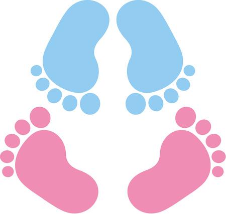 Zwei Paar Baby Fußabdruck Zwillinge