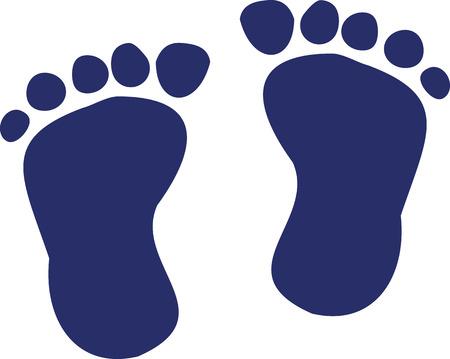 Dark blue baby feet 向量圖像