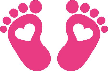 Rosa Baby-Fuß-Druck mit Herzen Vektorgrafik
