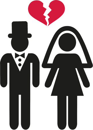 Divorced wedding couple symbol