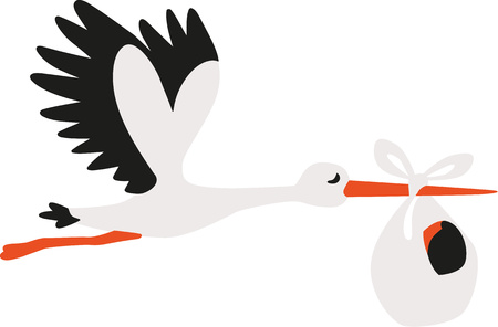 stork delivering a baby: White cartoon stork delivering a baby