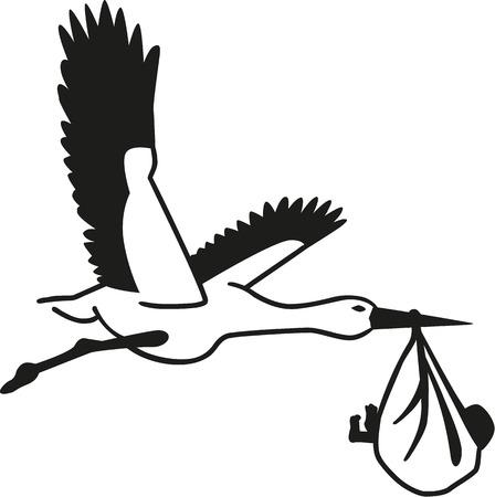 Stork avec le sac de bébé Vecteurs