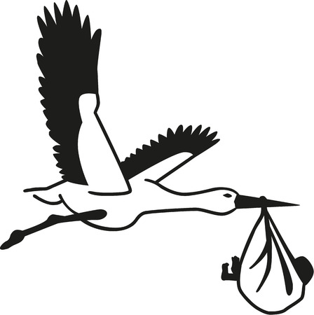 Stork with baby bag Vector Illustration