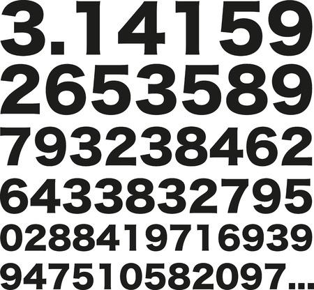 Pi number 3.141592653589 矢量图像