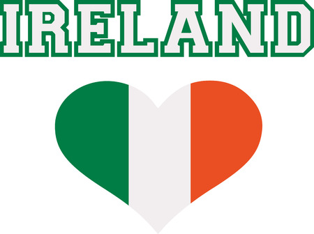 ire: Ireland word with striped heart in green white orange Illustration
