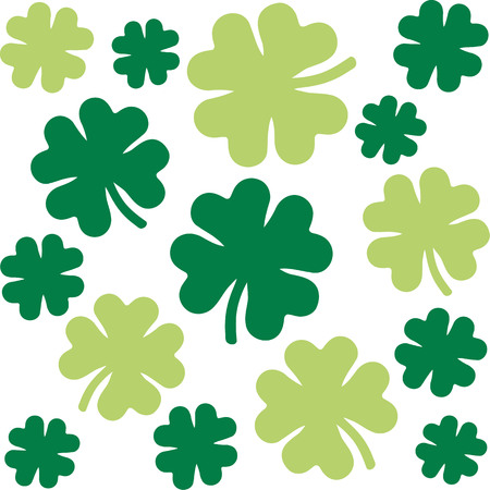 clovers: Shamrock pattern with four-leaf clovers in two green colors Illustration