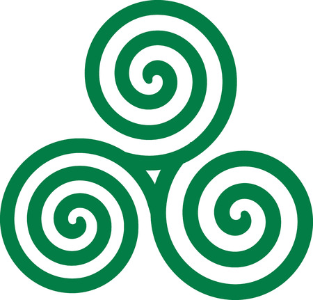 irish culture: Green celtic spiral Illustration