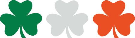 shamrocks: Shamrocks - green white orange irish flag Illustration