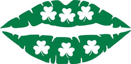 kissing lips: Irish lips for kissing with shamrocks