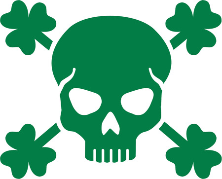 clovers: Green St. Patricks Day skull with clovers