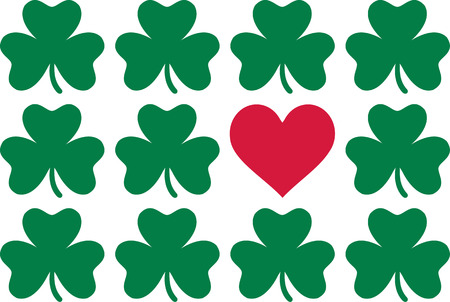 red clover: Clover pattern with one red heart - St. Patricks Day love