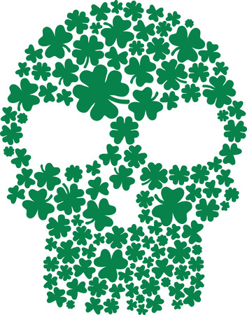 clovers: Skull composed with clovers Illustration