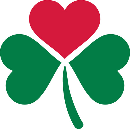 three leaf clover: Three leaf clover with on leaf as a heart