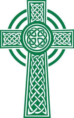 Green celtic cross with details Illustration