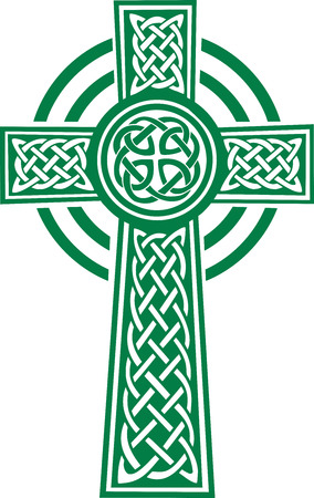 celtic: Green celtic cross with details Illustration