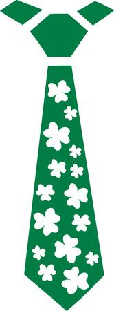 shamrocks: St. Patricks Day irish tie with shamrocks Illustration